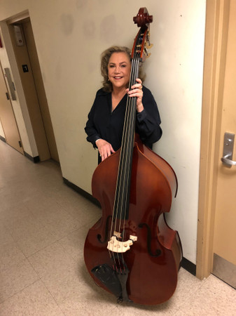 Kathleen Turner on tour, with her bassist's Estle Louis Laminate bass