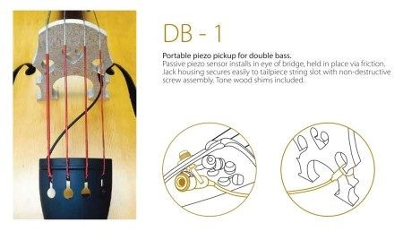 DB-1 Wood-Encased Upright Bass Pickup for Bridge Wing, installation instructions