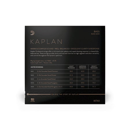 Kaplan Orchestral Upright Bass Strings, standard package back
