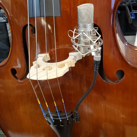 BassOnStage Mk2 Microphone Gooseneck Mount for Upright Bass, installed on bass, side mount