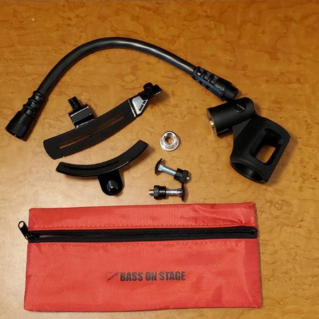 BassOnStage Mk2 Microphone Gooseneck Mount for Upright Bass, full kit components