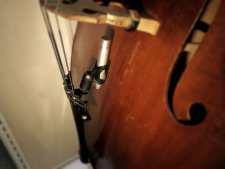 BassOnStage Mk2 Microphone Gooseneck Mount for Upright Bass, center rear mount, no gooseneck
