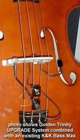 Golden Bullet Microphone for Upright Bass, installed on bass with bass max