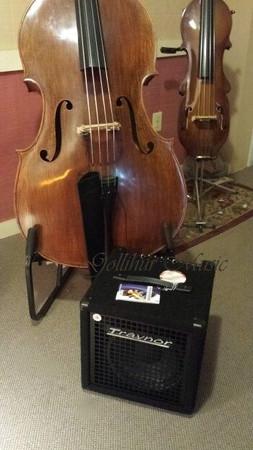 SB110 Lightweight Combo Bass Amplifier, next to bass