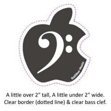 Bass Clef Domed Decal for your Apple Computer Logo design spec