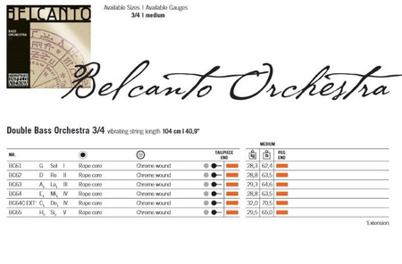 Belcanto Upright Bass Strings by Thomastik, gauge chart