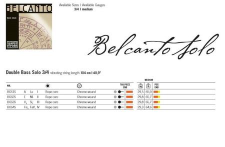 Belcanto SOLO Tuning Upright Bass Strings by Thomastik, gauge chart
