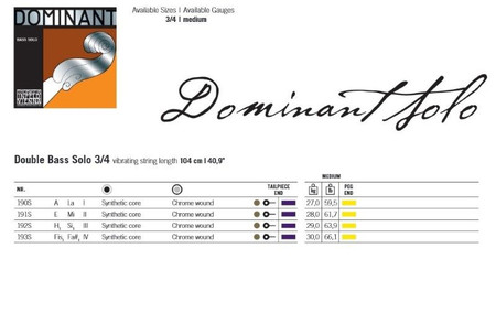 Dominant SOLO Tuning Upright Bass Strings by Thomastik, gauge chart