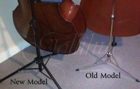 Portable Folding Stand for Double Bass (K-M model 141), comparing older model with new