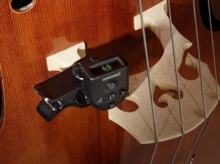 Electronic Clip On Musical Instrument Tuner -- NS Micro Universal on bass bridge