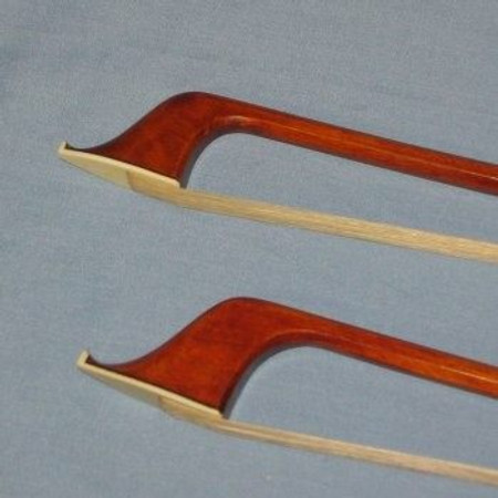 Pernambuco French and German Style Double Bass Bow, closeup of tip