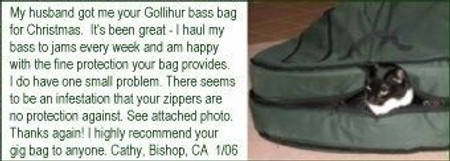 Gollihur Upright Bass Bag, padded, amusing shot of customer's cat inside bag