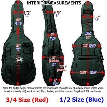Gollihur Upright Bass Bag, padded, dimensional diagram