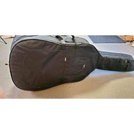 Black Gollihur Upright Bass Padded Gig Bag, laid down on side, back pockets