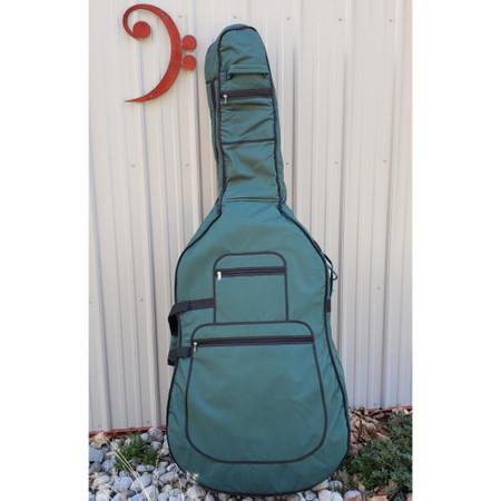 Green Gollihur Upright Bass Padded Gig Bag, back side, in natural light
