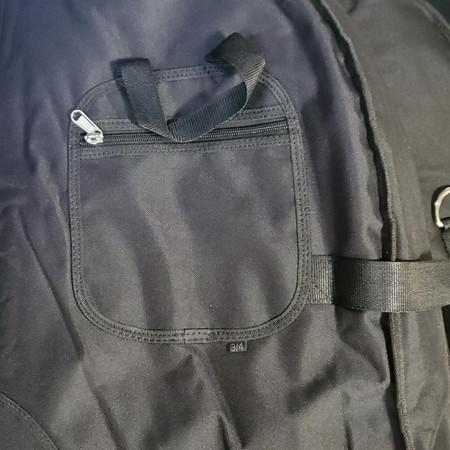 Black Gollihur Upright Bass Padded Gig Bag, detail of front accessory pocket