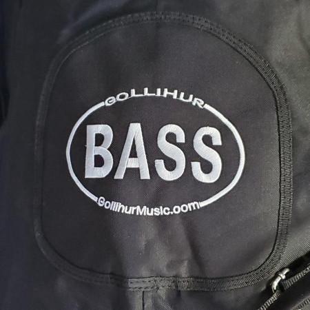 Black Gollihur Upright Bass Padded Gig Bag, detail of embroidered logo