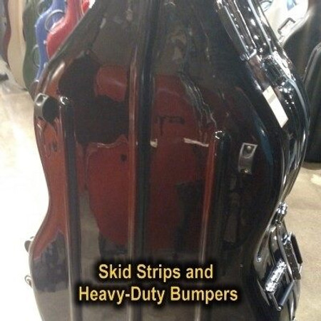 Fiberglas Hardshell Suspension CASE for 3/4 size Upright Bass, detail and skid strips and bumpers