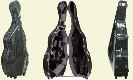 Fiberglas Hardshell Suspension CASE for 3/4 size Upright Bass, multi-view