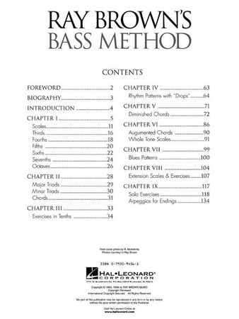 Ray Brown's Bass Method - Instructional Exercises Book, table of contents