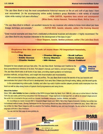 The Jazz Bass Book; Technique and Tradition - John Goldsby - Book with Audio, back cover