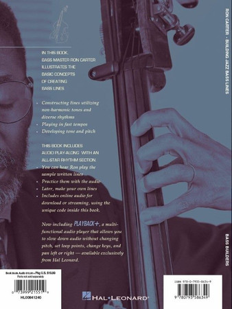 Ron Carter - Building Jazz Bass Lines - Book with Audio Tracks, back cover