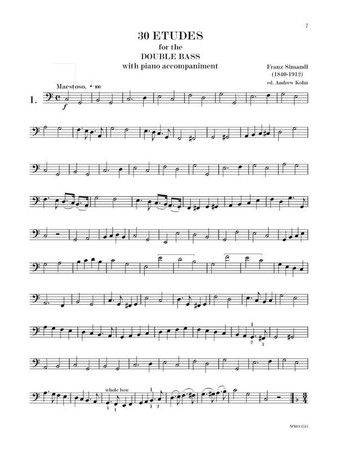 Franz Simandl - 30 Etudes with 4 Accompaniment Tracks, example page