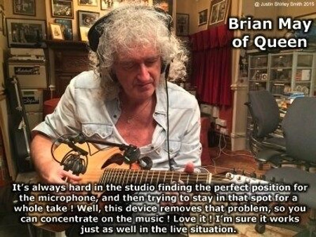 H-Clamp Acoustic Guitar and Studio Microphone Mounts by Xploraudio, in use by Brian May of Queen