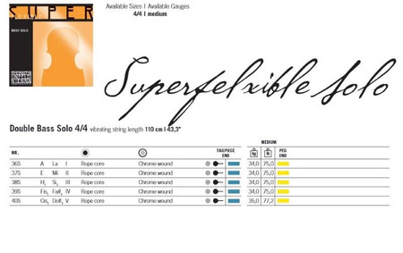 SuperFlexible SOLO Tuning Upright Bass Strings by Thomastik, gauge and tension chart