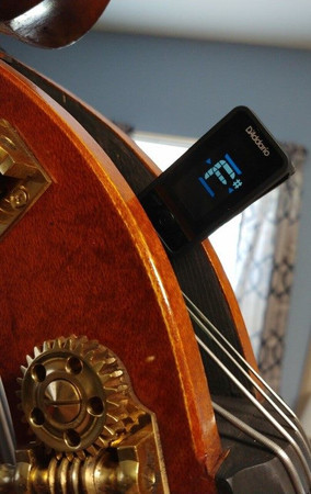 Eclipse Clip-on Electronic Chromatic Tuner for Double Bass & Cello, by D'Addario, clipped onto upright bass headstock