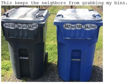 BASS oval logo, vinyl decorative sticker, on trash cans