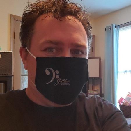 The cloth face mask on Mark