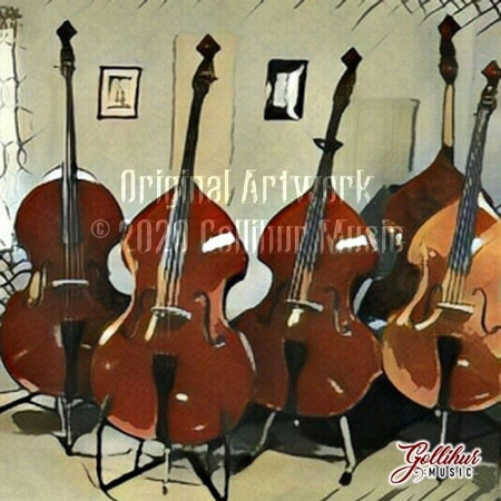 Double Bass Original Artwork by Mark Gollihur - Refrigerator Magnets, Set of 4, flock of basses