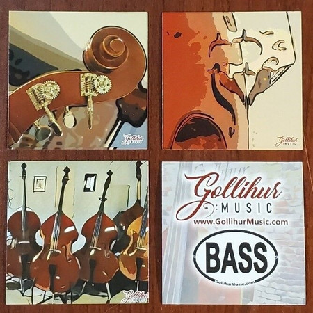 Double Bass Original Artwork by Mark Gollihur - Refrigerator Magnets, Set of 4