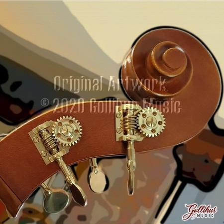 Double Bass Original Artwork by Mark Gollihur - Refrigerator Magnets, Set of 4, bass headstock/pegbox