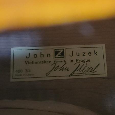 John Juzek Carved Double Bass, tag