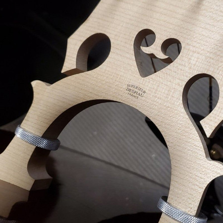 John Juzek Carved Double Bass, bridge closeup