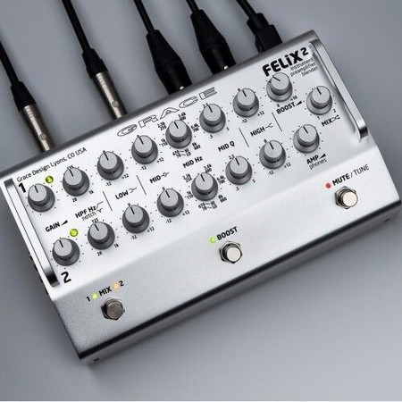 FELiX2 Two Channel Blending Preamp from Grace Design, silver model top view