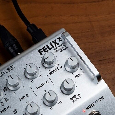 FELiX2 Two Channel Blending Preamp from Grace Design, silver model closeup of logo