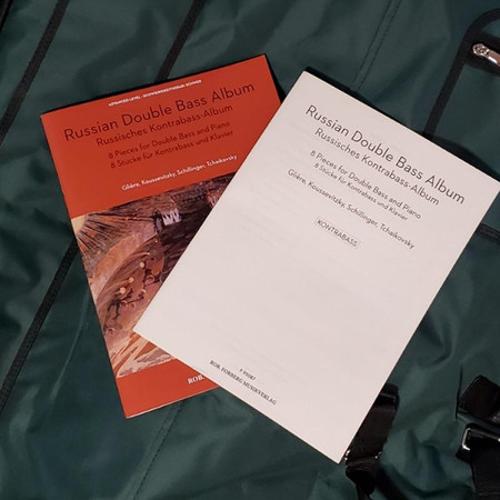Russian Double Bass Album, string solo repertoire. Showing accompanist's book and accompanying sheet music for bass.