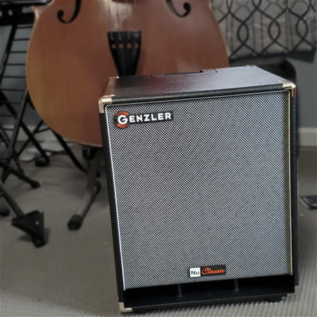 Genzler Nu Classic 112T Speaker Cabinet, next to upright bass