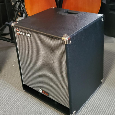 Genzler Nu Classic 112T Speaker Cabinet, 3/4 view next to upright bass