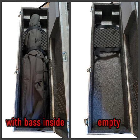 ATA hard case for Eminence Fixed Neck and Removable Neck Electric Upright Basses - side-by-side photos of open case, one with bass inside, one empty