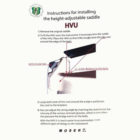 Moser HVU - height-adjustable upright bass saddle, instructions