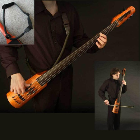 NS Design Boomerang Strap for OmniBass, EUB, and Electric Cello. Low-Profile wearable strap system.