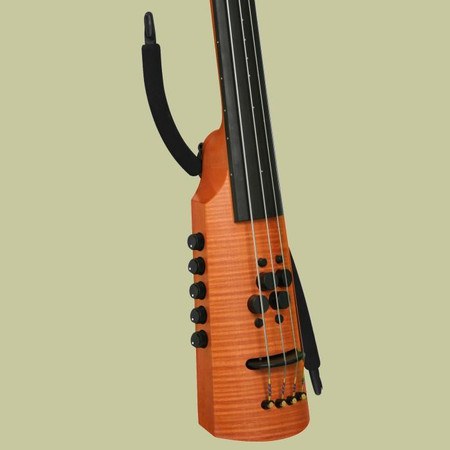 NS Design Boomerang Strap for OmniBass, EUB, and Electric Cello. Low-Profile wearable strap system. Photo on bass