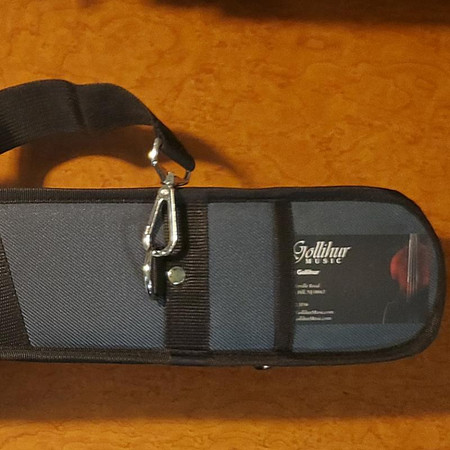 Double Bow Case for Two Bass Bows - closeup of rear panel showing card holder and strap hardware