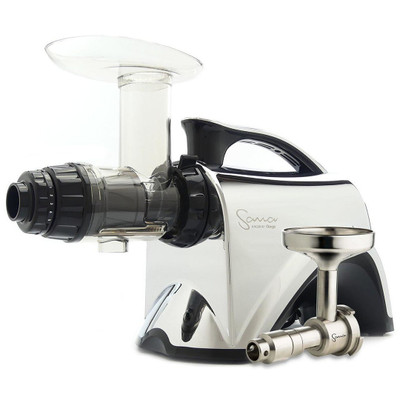 Omega Sana EUJ-606 Horizontal Slow Juicer in Chrome with Oil Attachment