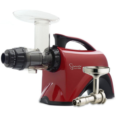 Omega Sana EUJ-606 Horizontal Slow Juicer in Red with Oil Attachment
