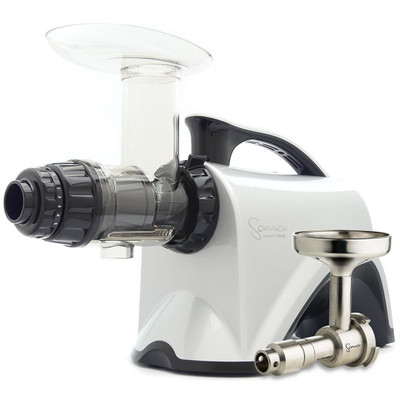 Omega Sana EUJ-606 Horizontal Slow Juicer in Silver with Oil Attachment